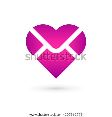 Envelope heart logo icon design template. Colorful sign. May be used in medical, dating, Valentines Day and wedding design. - stock vector
