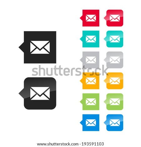 Envelope icon for user interface - flat and glossy style, color variations. Stylized square speech bubbles with symbol. - stock vector