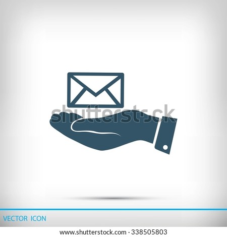 envelope icon in hand  - stock vector