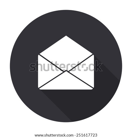 envelope icon with long shadow - vector round button - stock vector