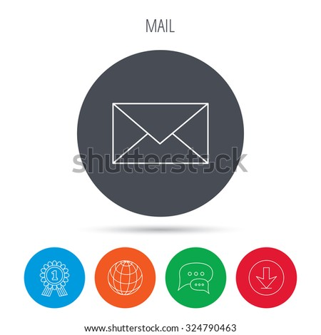 Envelope mail icon. Email message sign. Internet letter symbol. Globe, download and speech bubble buttons. Winner award symbol. Vector - stock vector