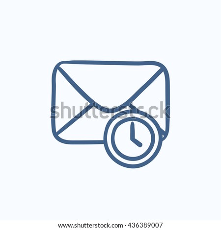 Envelope mail with clock vector sketch icon isolated on background. Hand drawn Envelope mail with clock icon. Envelope mail with clock sketch icon for infographic, website or app. - stock vector