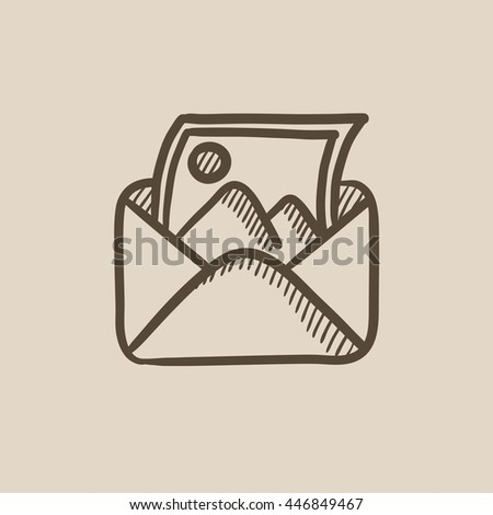 Envelope mail with photo vector sketch icon isolated on background. Hand drawn Envelope mail with photo icon. Envelope mail with photo sketch icon for infographic, website or app. - stock vector