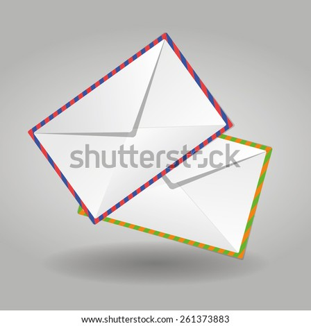 Envelope paper letter mail white isolated  - stock vector