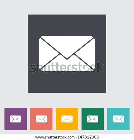 Envelope. Single flat icon. Vector illustration. - stock vector