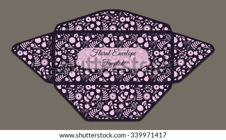 Envelope template with floral pattern inside. Good for holiday greeting, card, wedding or baby shower invitation,  branding, making your company correspondence unique. Dark vector illustration - stock vector