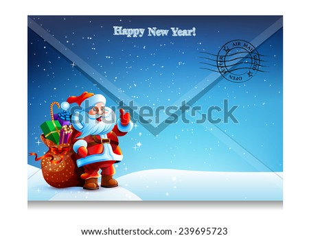 Envelope with a letter with a picture of Santa Claus. Happy New Year. Merry Christmas. picture, illustration, image, Vector. Icon. - stock vector