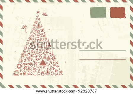 Envelope with christmas sketch and place for your text - stock vector