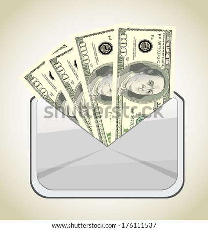 Envelope with dollars  - stock vector