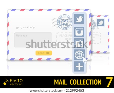 Envelope with twitter form and postal stamp isolated on white background. Vector illustration - stock vector