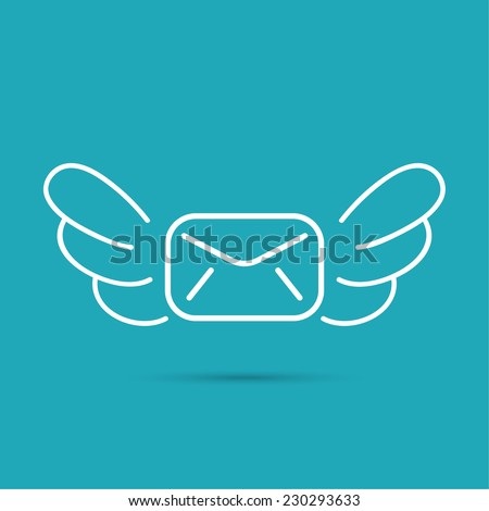 Envelope with wings. The concept of fast delivery of mail, airmail, receiving messages. Logo - stock vector