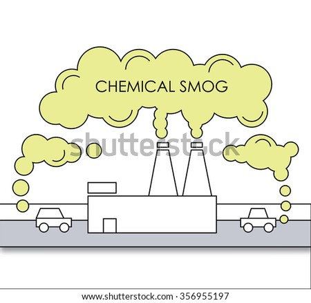 enviromental problem. chemical smog, air pollution illustration. factory and cars with durty air in flat style. - stock vector