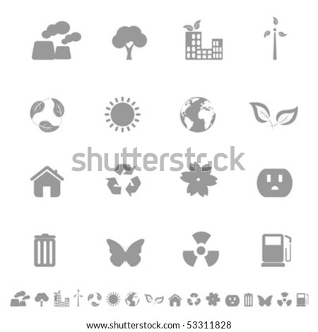 Environment and ecology related icons in grayscale - stock vector