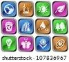 Environment button set - stock vector