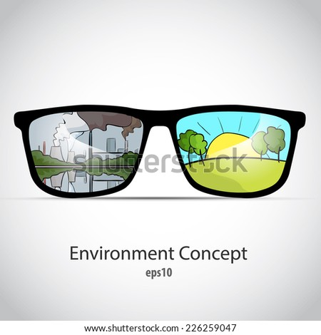 Environment concept vector illustration. Glasses with two different landscapes clear, eco, bio and pollution industry. - stock vector