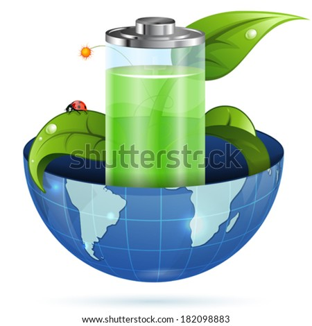 Environment Concept with Young Green Sprout, Battery and Earth, vector isolated on white background - stock vector