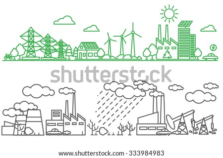 Environment, ecology infographic elements. Environmental risks and pollution, ecosystem. Can be used for background, layout, banner, diagram, web design, brochure template. Vector illustration line - stock vector