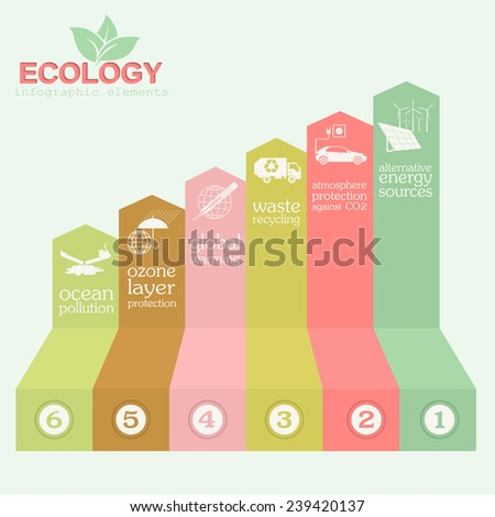Environment, ecology infographic elements. Environmental risks, ecosystem. Template. Vector illustration - stock vector