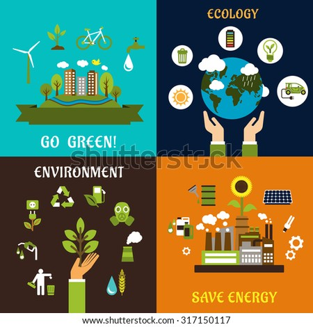 Environment, ecology, nature protection and save energy flat icons with green city landscape, sustainable energy symbols, eco friendly industrial plant, ecology, recycle, earth, transport and bio fuel - stock vector