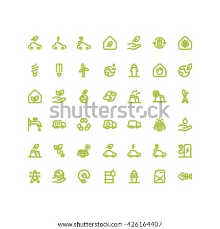 Environment & Ecology Outline Bold Icons - stock vector