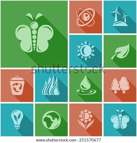 Environment flat icons - stock vector