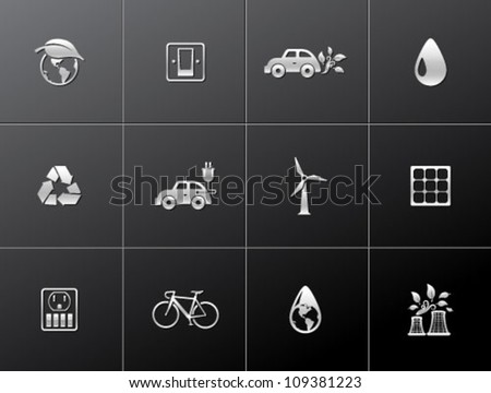 Environment  icon series in metallic style. - stock vector