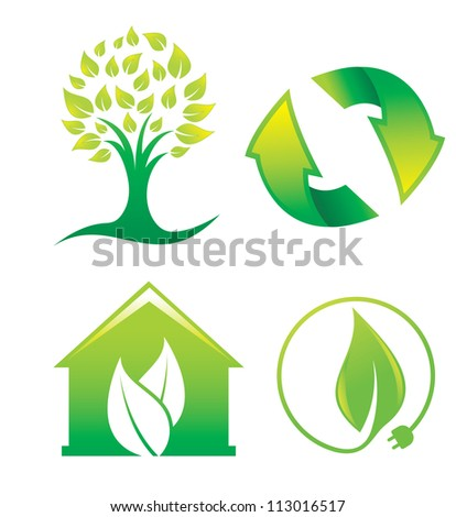 Environment, symbols or icons of a tree, recycling, green house, and green energy, vector illustration - stock vector