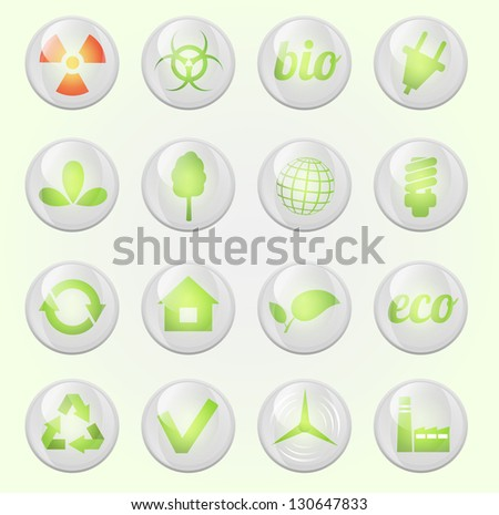 Environment vector glossy icons set - stock vector