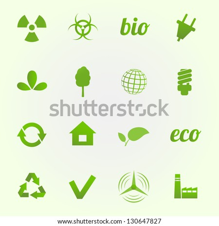 Environment vector icons set - stock vector