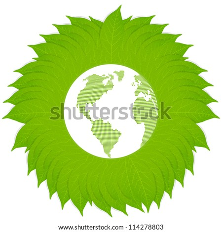 Environmental and ecology earth globe leaf vector concept background - stock vector