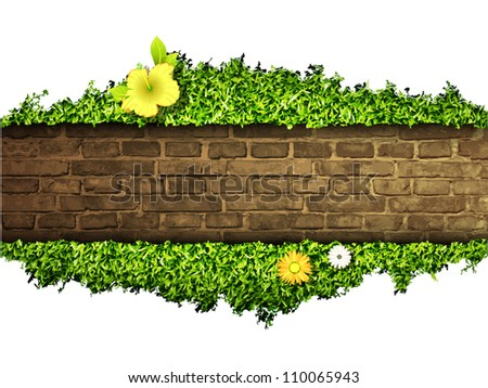 environmental background of the banner, grass and brick - stock vector