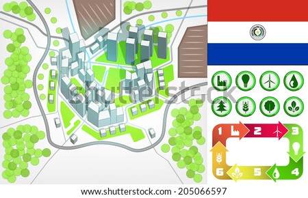 environmental city map and icons set with Paraguay flag vector illustration - stock vector