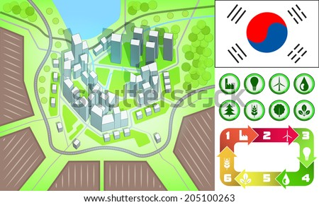 environmental city map and icons set with South Korea flag vector illustration - stock vector