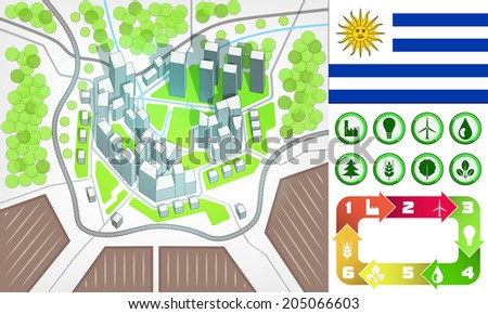 environmental city map and icons set with Uruguay flag vector illustration - stock vector