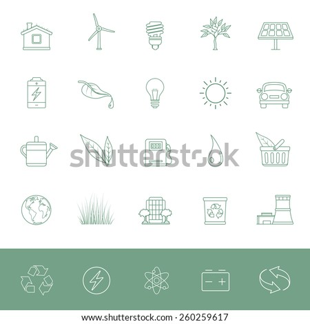 Environmental Conservation Icons - stock vector