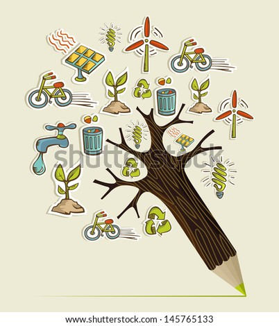 Environmental conservation icons in pencil tree shape. Vector illustration layered for easy manipulation and custom coloring. - stock vector