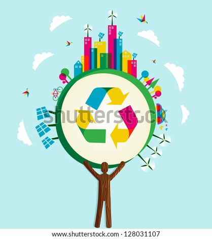 Environmental conservation icons in world tree. Vector illustration layered for easy manipulation and custom coloring. - stock vector