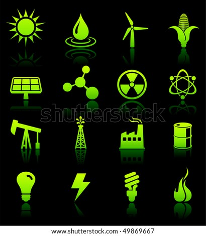 Environmental Nature Icons Collection Original Vector Illustration - stock vector