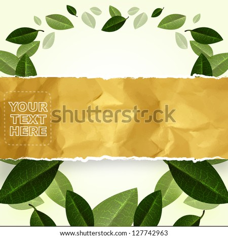 environmental or ecology concept. abstract green leaf background - stock vector