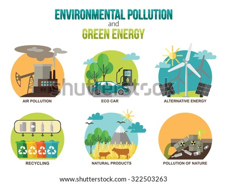 Environmental pollution and green energy ecology concepts. Air pollution, eco car, alternative energy, recycling, natural products, pollution of nature. Flat style design. Vector illustration. - stock vector