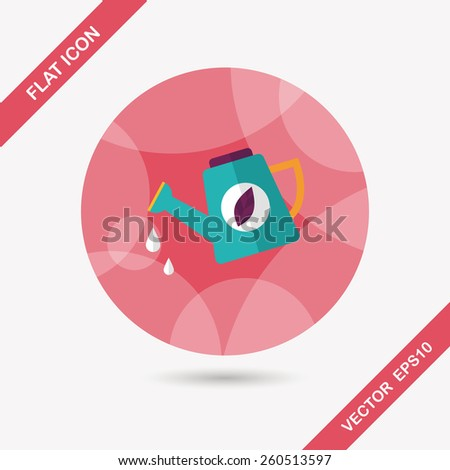 Environmental protection concept flat icon with long shadow,eps10; Protect our forests and ecological plant; watering plants - stock vector