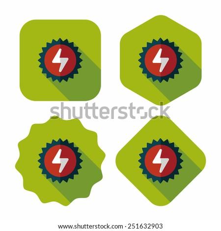 Environmental protection concept flat icon with long shadow,eps10; solar energy; saving energy - stock vector