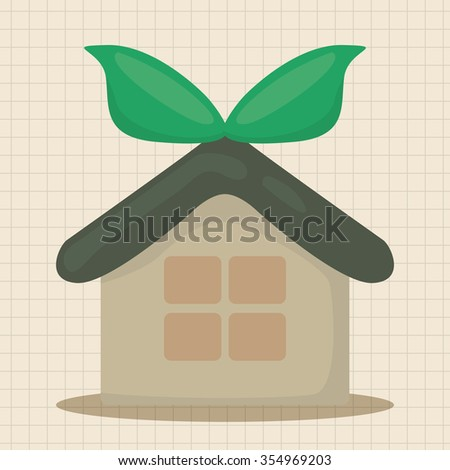 Environmental protection concept theme elements, greenhouses, green house - stock vector