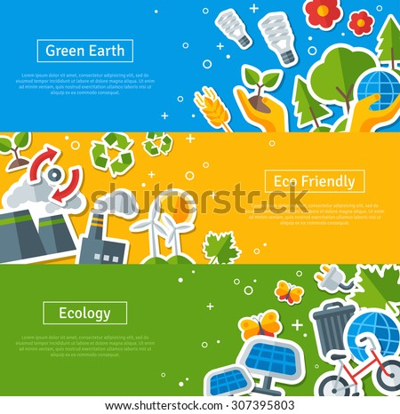 Environmental Protection, Ecology Concept Horizontal Banners Set in Flat Style. Vector illustration. Ecology Stickers Symbols. Green Energy, Save Planet Concept. Solar panels. Hand Holding Sprout. - stock vector