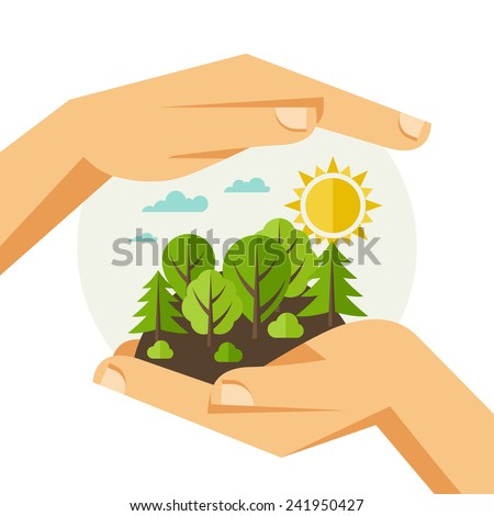 Environmental protection, ecology concept illustration in flat style. - stock vector