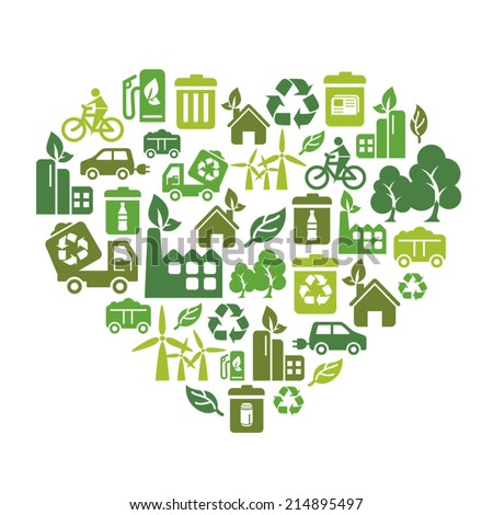 Environmental Protection Icons in Heart Shape - stock vector