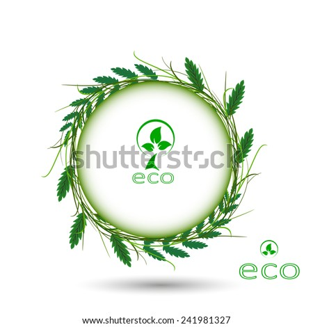 Environmentally friendly green background - abstract wallpaper leaves in a circle - stock vector