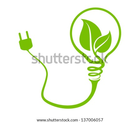 environmentally friendly vector light bulb with socket - stock vector