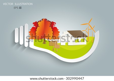 Environmentally friendly world. House, solar panels, a windmill, a tree in a light bulb. Vector illustration of ecology the concept of infographics modern design. The icon, sign. Ecological concepts - stock vector