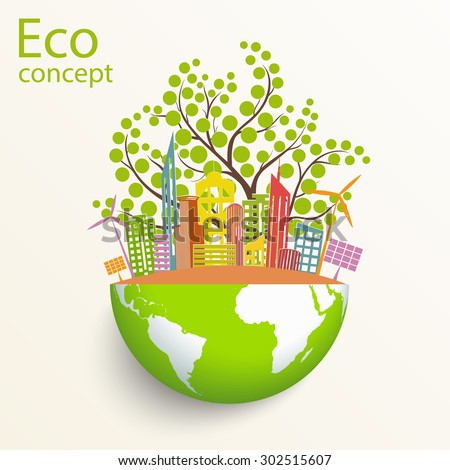 Environmentally friendly world. The city, solar panels, a windmill, a tree on the globe. Vector illustration of ecology the concept of infographics modern design. The icon, sign. Ecological concepts - stock vector